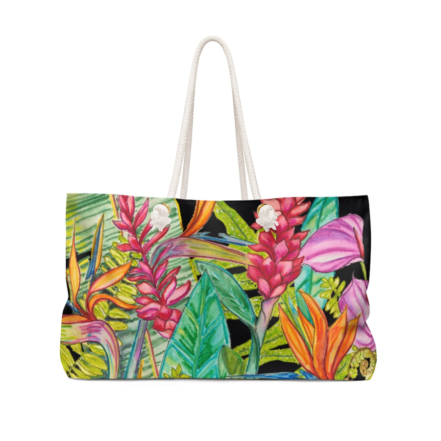 Canvas Tote Bag: Tropical Flower Garden, Ginger, Bird of Paradise, Anthurium -Bird Party