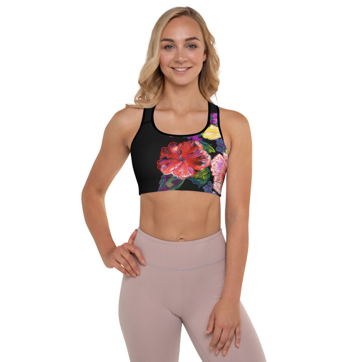 Padded Sports Bra: Tropical Red Hibiscus Flower