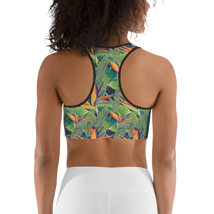 Padded Sports Bra: Tropical Bird of Paradise Flower Pattern - Dancing Birds