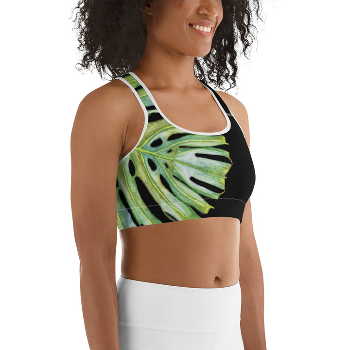 Padded Sports Bra: Tropical Monstera Leaf
