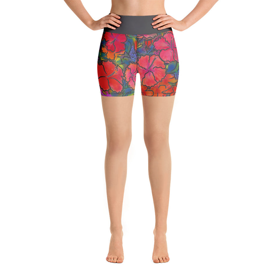 Women's Yoga Shorts: Colorful Tropical Flower, Bold & Beautiful