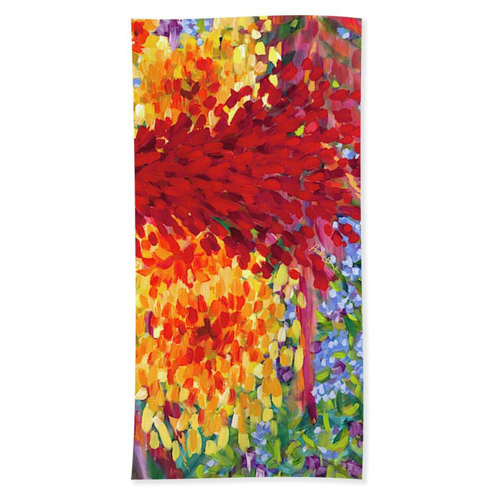 Beach Towel: Colorful Tropical Flower Abstract Ginger & Hibiscus - Ginger Boom!