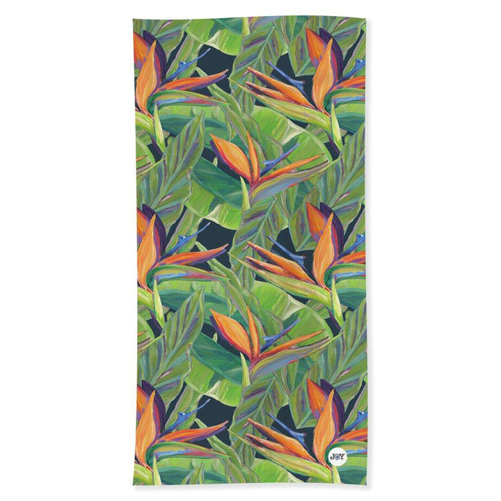 Beach Towel: Tropical Flower, Birds of Paradise - Dancing Birds