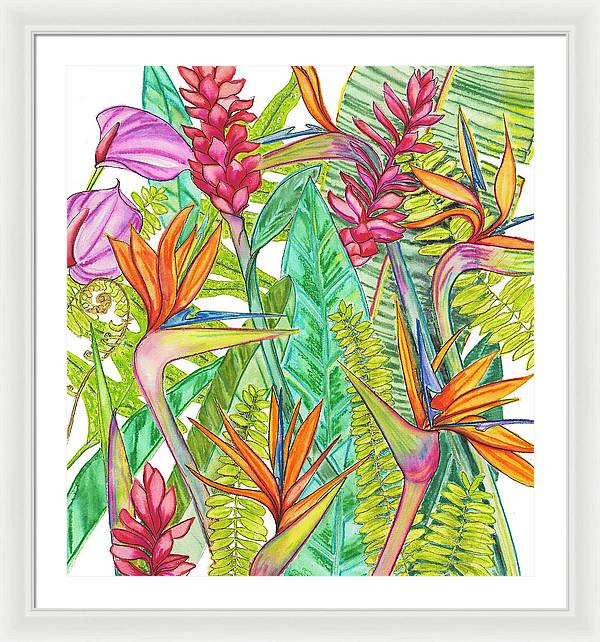 Hawaii Tropical Flower, Bird of Paradise, Ginger, Anthurium - Canvas Print
