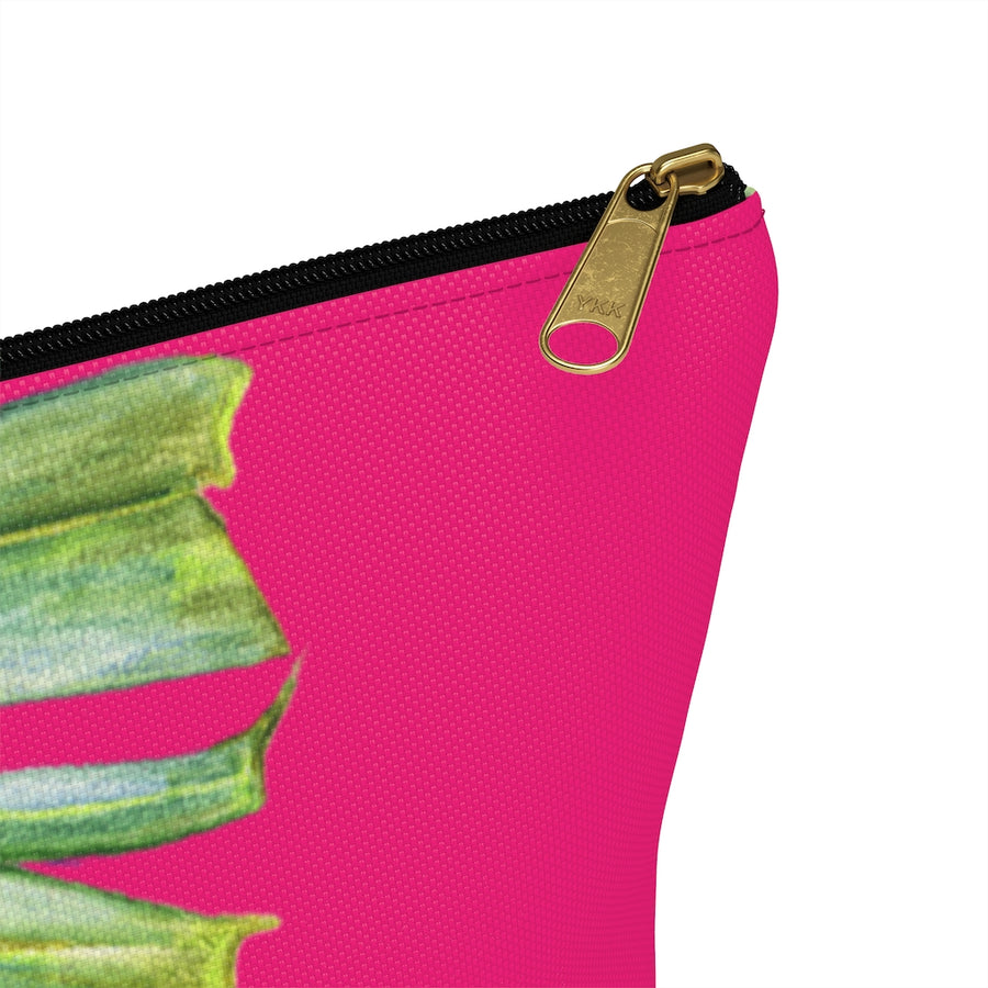 T-Bottom Accessory Pouch: Tropical Monstera Leaf - Pink