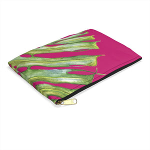 Accessory Pouch: Monstera Leaf Tropical Pattern - Pink