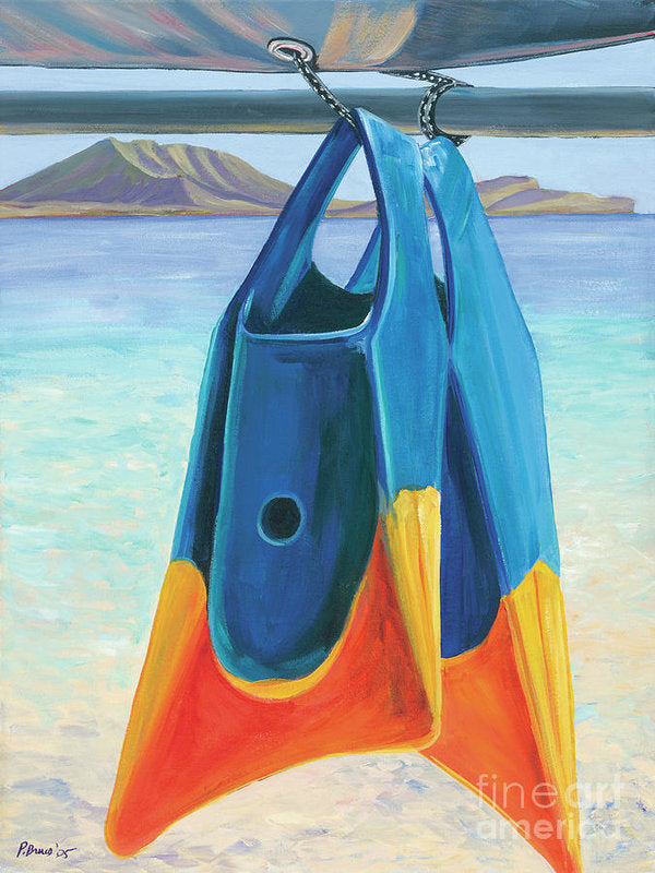Fins Of Kailua - Tropical Beach, Surfing - Archival Print