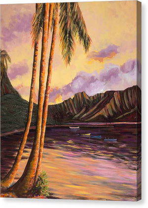 Canvas Print: Tropical Hawaiian Landscape, Sunset - Glowing Kualoa 1