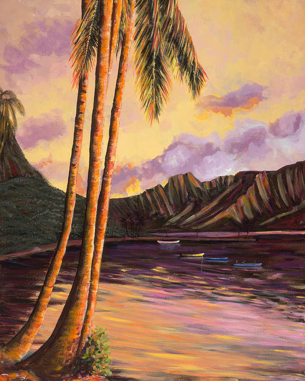 Tropical Hawaiian Landscape, Sunset - Glowing Kualoa 1 - Art Print