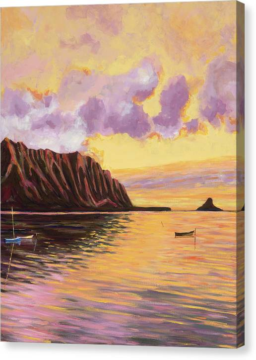 Canvas Print: Tropical Hawaiian Landscape, Sunset - Glowing Kualoa 2