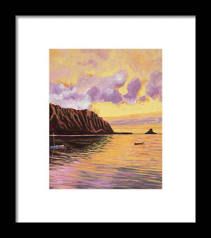 Framed Print: Tropical Hawaiian Landscape, Sunset - Glowing Kualoa 2