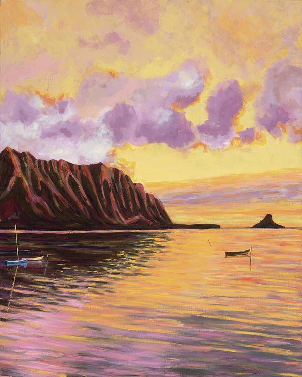 Tropical Hawaiian Landscape, Sunset - Glowing Kualoa 2 - Art Print