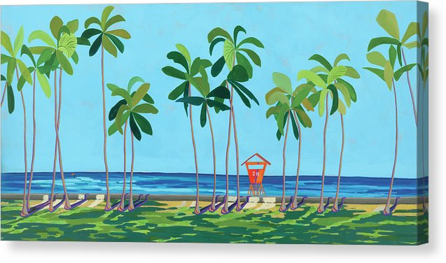 Kaimana Beach Hawaii, Tropical Landscape, Contemporary - Canvas Print