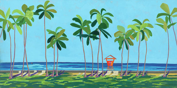 Kaimana Beach Hawaii, Tropical Landscape, Contemporary - Archival Print