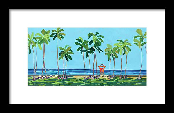 Kaimana Beach Hawaii, Tropical Landscape, Contemporary - Framed Print
