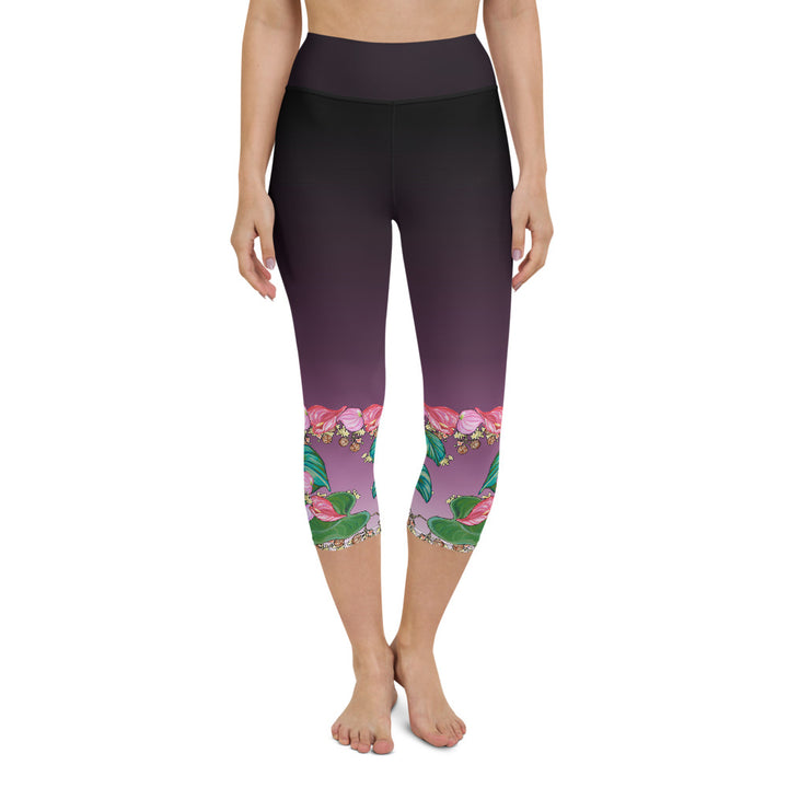 Yoga Capri Pants: Tropical Anthirium & Hawaiian Healing Plants in Purple Ombre