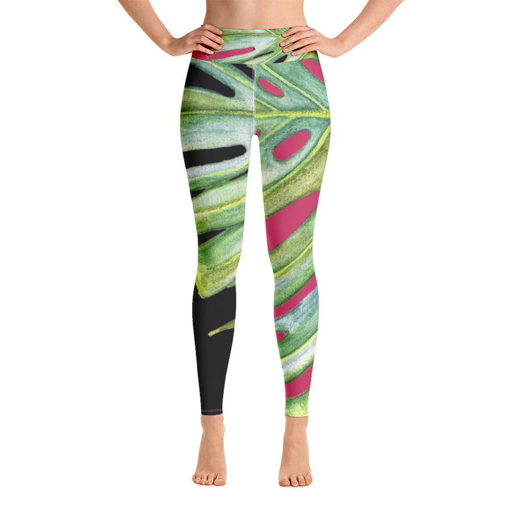 Women's Yoga Pants: Tropical Monstera Leaf