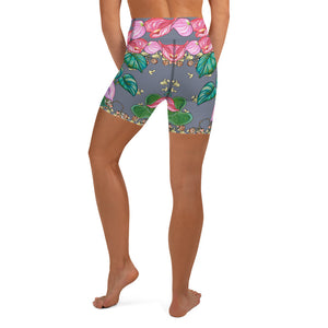Women's Yoga Shorts: Tropical Camouflage Grey