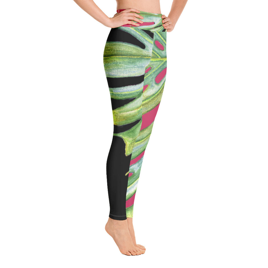 Yoga Pants: Tropical Monstera Leaf