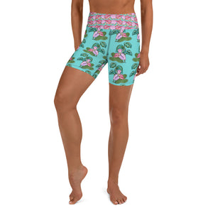 Women's Yoga Shorts: Tropical Camouflage Teal