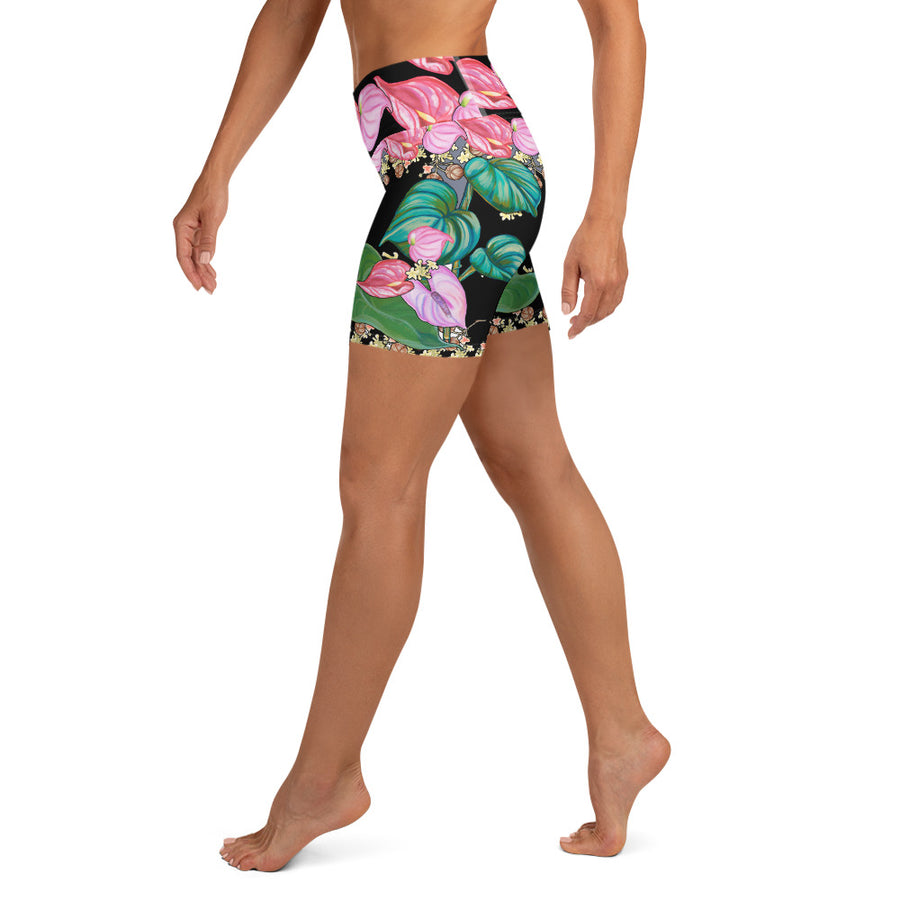 Women's Yoga Shorts: Tropical Anthirium & Hawaiian Healing Plants in Black
