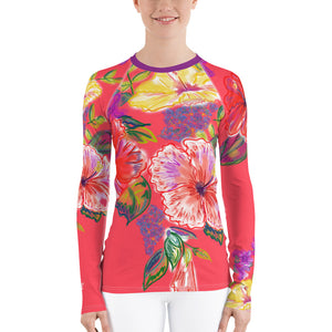 Women's Rash Guard: Tropical Flowers, Orchids & Hibiscus in Lipstick