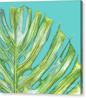 Monstera Edge Tropical Leaf with Aqua Background - Canvas Print