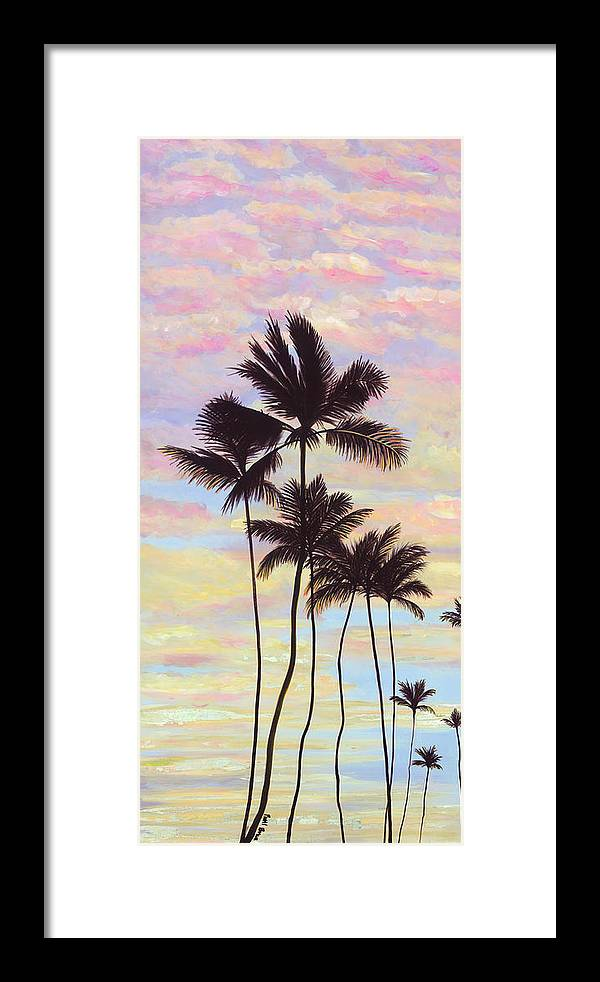 Cotton Candy Clouds - Tropical Sunrise and Palms - Framed Print