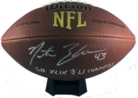 Nate Ebner Autograph Wilson Official-Size Football