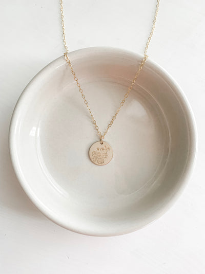 June Floral Disc Necklace - Customizable