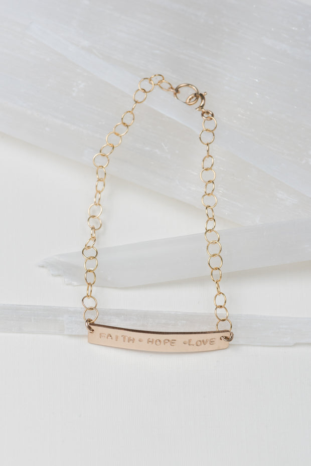 Faith.Hope.Love Bar Bracelet