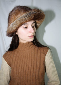 VINTAGE BROWN MINK FUR BUCKET HAT (M)