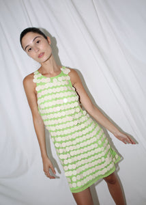 VINTAGE DOLCE & GABBANA GREEN MOD MINI DRESS WITH DISCS (S)