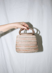 VINTAGE BRONZE WOVEN STRIPED HANDBAG
