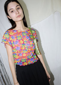 VINTAGE POP ART SHEER FLOWERS T-SHIRT (S)