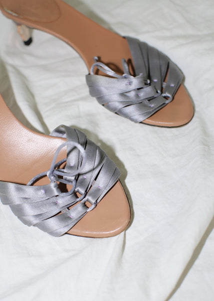 VINTAGE GUCCI GRAY SATIN SANDALS (36)