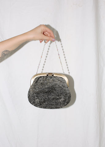 VINTAGE GRAY VELVET HANDBAG WITH BEADED STRAP