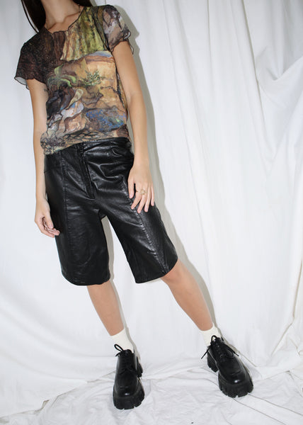 VINTAGE BLACK LEATHER SHORTS (S)