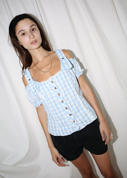 VINTAGE BLUE CHECKER PRINT OPEN SHOULDER TOP (L)