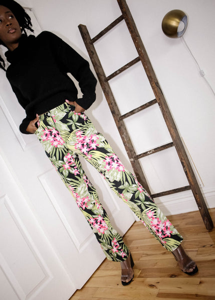 VINTAGE TROPICAL PRINT PANTS (M)