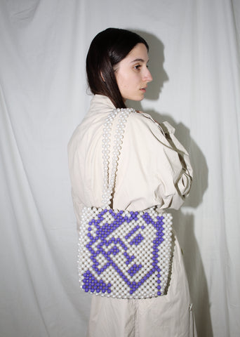 CYNARA WHITE & PURPLE BEADED NORY BAG