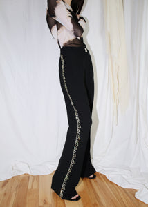 VINTAGE BLACK RHINESTONE TRIM PANTS (S)