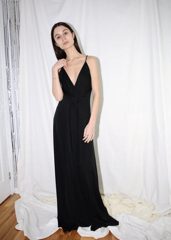 VINTAGE BLACK WRAP FRONT SLEEK GOWN (S)