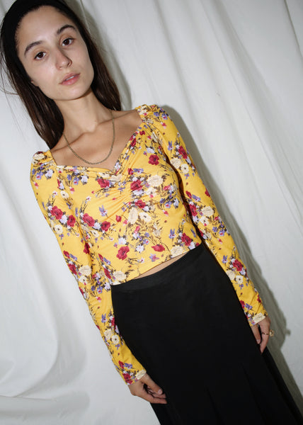 VINTAGE YELLOW FLORAL RUCHED LONG SLEEVE TOP (S)