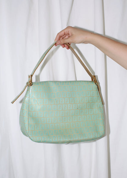 VINTAGE FENDI ZUCCHINO TEAL VINYL LEATHER MAMMA BAGUETTE SHOULDER BAG