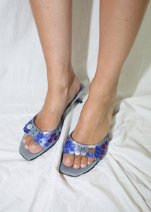 VINTAGE PRADA BLUE LEATHER SEQUIN SANDALS (38)