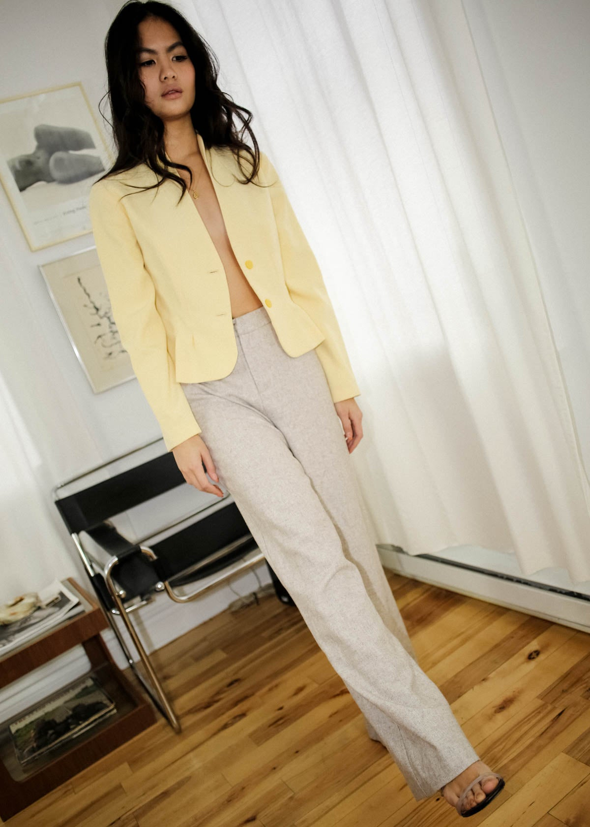 VINTAGE OATMEAL WOOL TROUSERS (M)