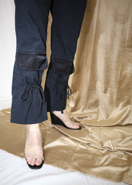 NAVY PANTS WITH BLACK POCKET DETAIL (M)