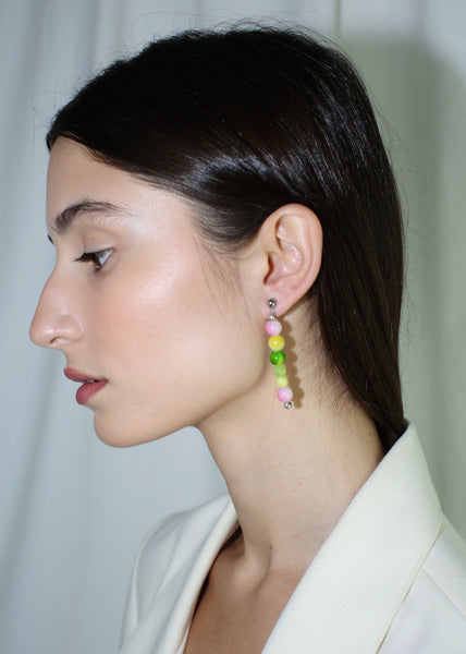 KUNST PINK & GREEN BEADED VERA EARRINGS
