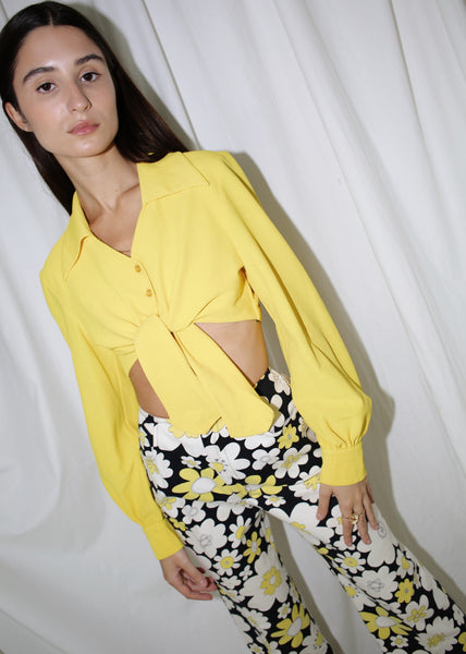 VINTAGE YELLOW TIE FRONT CROPPED BUTTON DOWN SHIRT (XS)